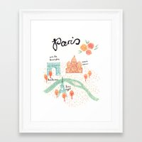 paris map Framed Art Prints featuring Paris Map by Emma Block