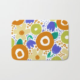 Bold Abstract Floral Inspired Pattern (Harvest Colors) Bath Mat