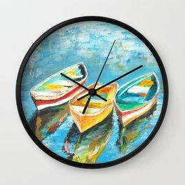 Three Little Boats Wall Clock