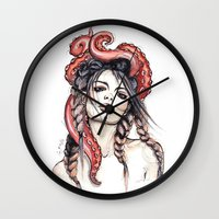 octopus Wall Clocks featuring Octopus by Nora Bisi