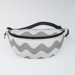 Pantone Pewter Gray Soft Zigzag Rippled Horizontal Line Pattern Fanny Pack