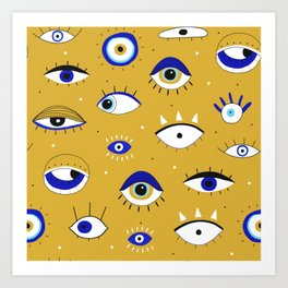 Funny eyes open and close doodles hand drawn on yellow background illustration pattern Art Print