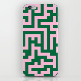 Cotton Candy Pink and Cadmium Green Labyrinth iPhone Skin