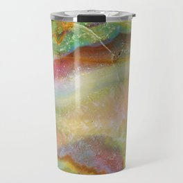 Colorful Abstract Marble Stone Green overtones Travel Mug