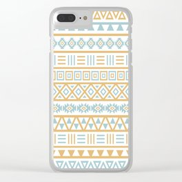 Aztec Influence Pattern Blue White Gold Clear iPhone Case