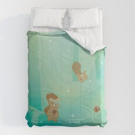 Hide and Seed (Cartoon Squirrels, Mint Green Snow Forest) Comforters