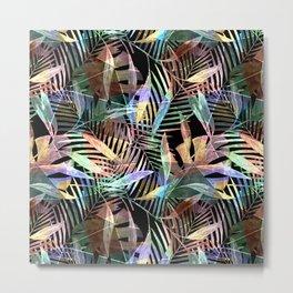 Tropical pattern. Colorful leaves on black Metal Print
