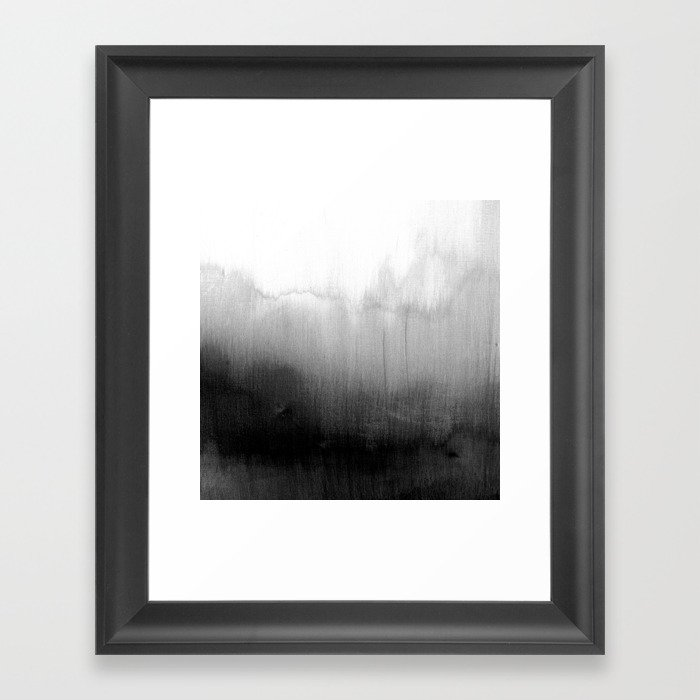 Modern Black and White Watercolor Gradient Gerahmter Kunstdruck
