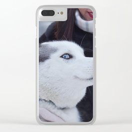Siberian husky at winter. Clear iPhone Case