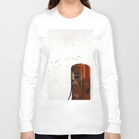 pocket fuel Long Sleeve T-shirts featuring old fuel pump by Cenk Cansever