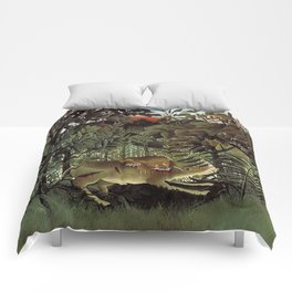 THE HUNGRY LION ATTACKING AN ANTELOPE - ROUSSEAU Comforters