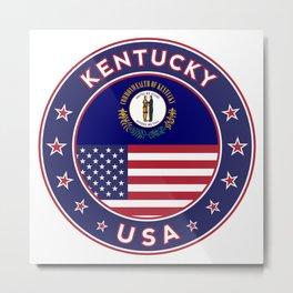 Kentucky, Kentucky t-shirt, Kentucky sticker, circle, Kentucky flag, white bg Metal Print