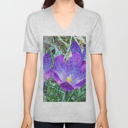 Purple Crocus Mosaic Unisex V-Neck