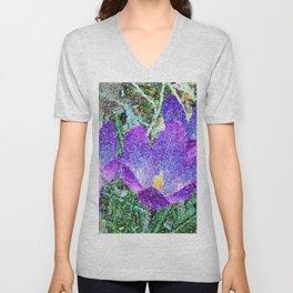 Purple Crocus Mosaic Unisex V-Neck