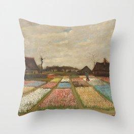 Bulb Fields by Vincent van Gogh Throw Pillow