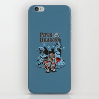 dungeons and dragons iPhone & iPod Skins featuring PIPES & DRAGONS by Adams Pinto