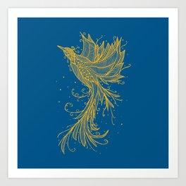 Golden Phoenix on blue Art Print