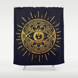 Golden Evil Eye Illustration Shower Curtain
