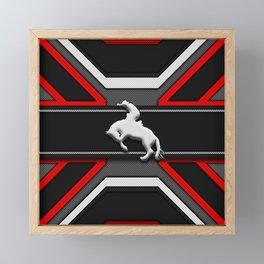 Black and Red Rodeo Cowboy Sports Design Framed Mini Art Print
