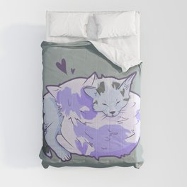 Pastel Purple Cuddling Cats Comforters