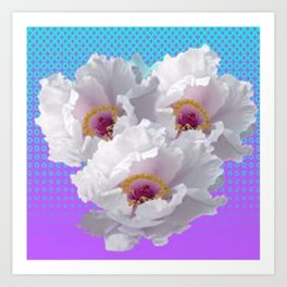 LILAC-PURPLE-BLUE  WHITE TREE PEONY FLOWERS ART Art Print