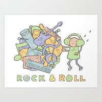 katamari Art Prints featuring Katamari Rock & Roll by vonplatypus