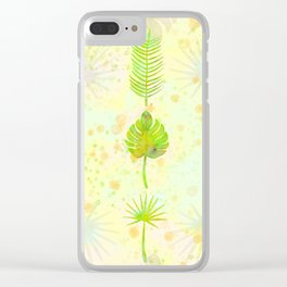 Tropical Leaf Watercolor Painting, Green Palm Tree Leaves Clear iPhone Case