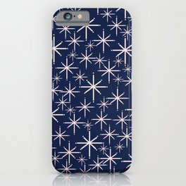 Starry Night - Midcentury Mod Retro Starbursts in Light Pink and Navy Blue iPhone Case