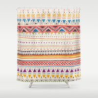 aztec Shower Curtains featuring Pattern by Sandra Dieckmann