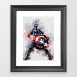 America Captain watercolor;-) Framed Art Print