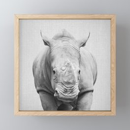 Rhino 2 - Black & White Framed Mini Art Print