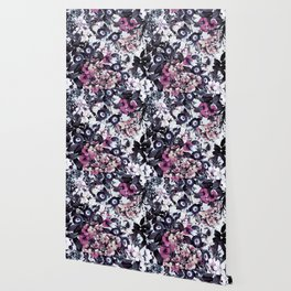 Bohemian Floral Nights Pink and Gray Wallpaper