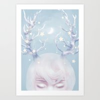 antlers Art Prints featuring Antlers by Pastellish