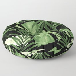 Tropical Jungle Night Leaves Pattern #5 #tropical #decor #art #society6 Floor Pillow