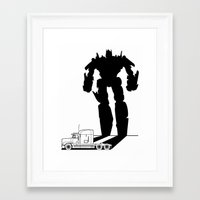 optimus prime Framed Art Prints featuring Optimus Prime by offbeatzombie