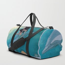 Mermaid and Dolphin Discover Seahorses Duffle Bag