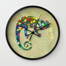 Animal Mosaic - The Chameleon Wall Clock