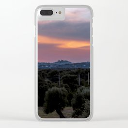 Panoramic view of the medieval white village of Ostuni at sunset Clear iPhone Case