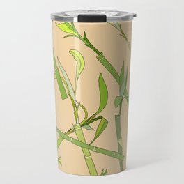 Scattered Bamboos on Beige Travel Mug