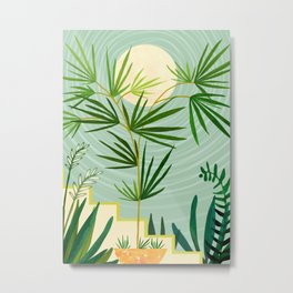 Summer Moon / Tropical Garden Illustration Metal Print