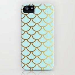 Aqua Teal And Gold Foil MermaidScales - Mermaid Scales iPhone Case
