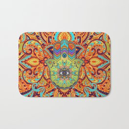 Colorful  Hamsa Hand -  Hand of Fatima Bath Mat