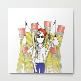 Pencil Warrior Metal Print