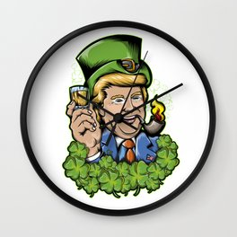 Make St Patricks Day Great Again Lucky Shamrock Trump Design Wall Clock