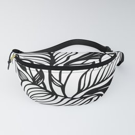 White Black Floral Minimalist Fanny Pack