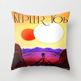 Vintage poster - Kepler-16b Throw Pillow