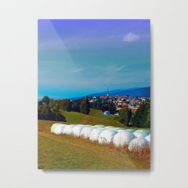 Hay bales, clouds and some scenery Metal Print