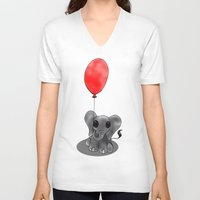 ballon V-neck T-shirts featuring Look At My Ballon by Alexandra Sutherland