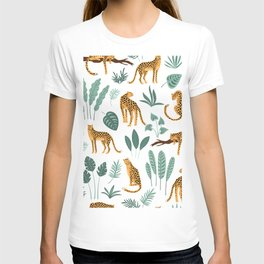 Tropical jungle leaves and lions pattern T-shirt