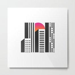 Cityscape // Architecture Minimalist Illustration Metal Print